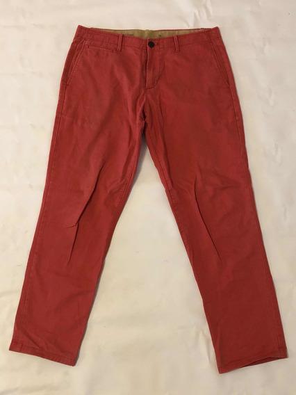 Pantalon Informal Gap W34 L34 Corte Slim Algodón Coral