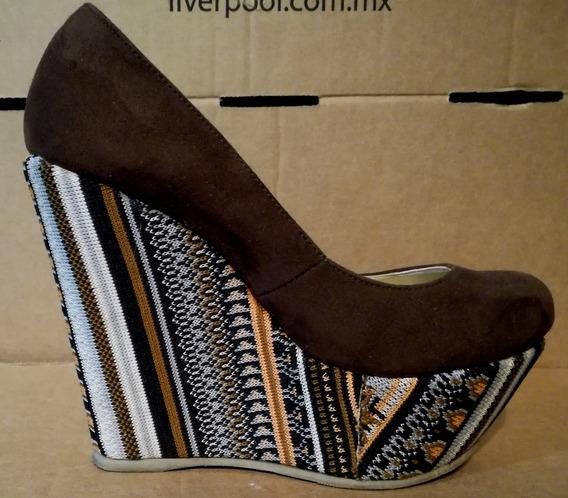 Zapato Wedge Plataforma Tribal Gamuza 24.5 Méx C216