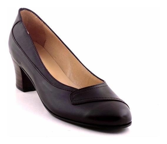 Zapato Cuero Mujer Vestir Taco Briganti Negro - Mccz03400