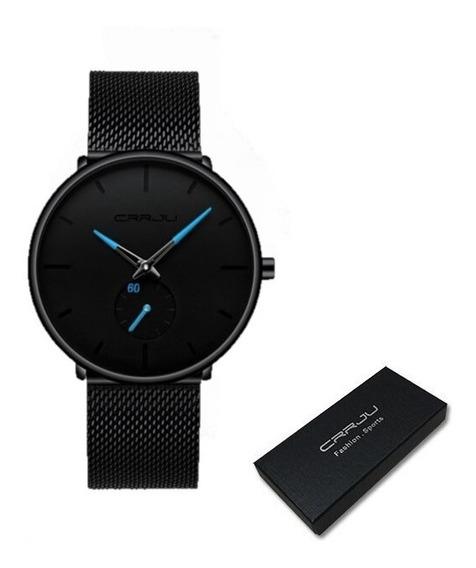 Relógio Unissex Crrju Fino Original Cj-2150 Ponteiro Azul Ultrafino Quartz Moderno 40mm Analógico Pulseira Milanese