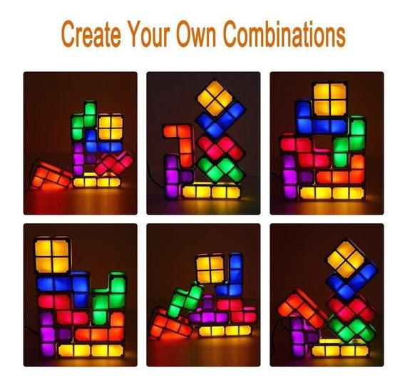 Tetris Luminária Abajur De Led Desmontável Colorida