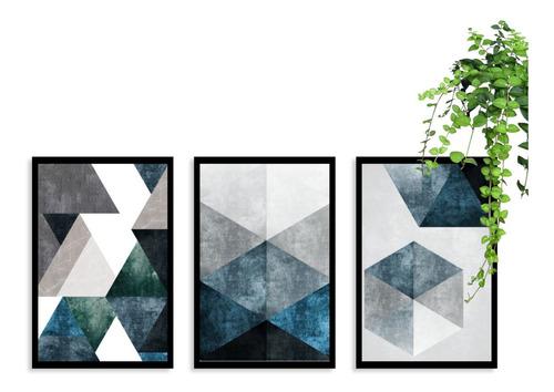 Kit 3 Quadros Decorativos Abstrato Azul Com Moldura Sala