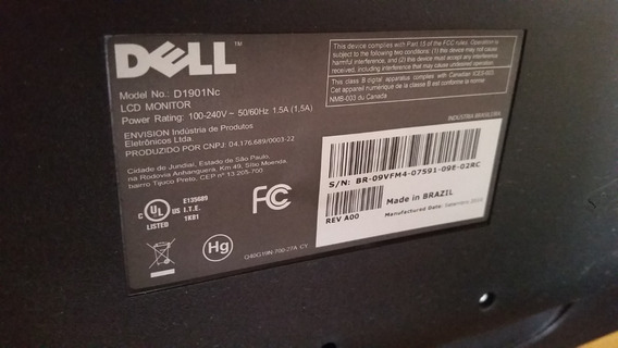 Placa Video Monitor Dell 19 Polegas Lcd D1901nc