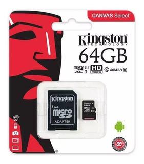 Kingston Memoria Micro Sd 64gb Clase 10 80mbs Canvas Cuotas