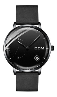 Reloj Hombre Dom M-302 Moderno Minimalista Chato Malla Cuero