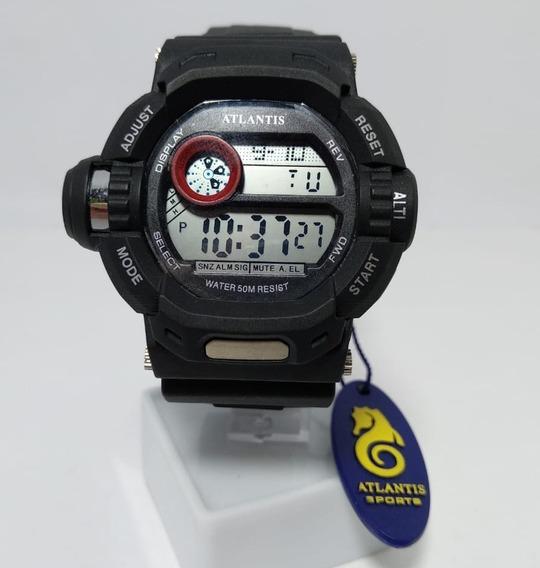 Relógio Atlantis Digital Preto Detalhe Em Vermelho - 7324g