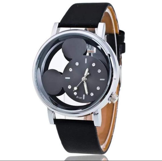 Relógio De Pulso Feminino Mickey Mouse Preto Barato
