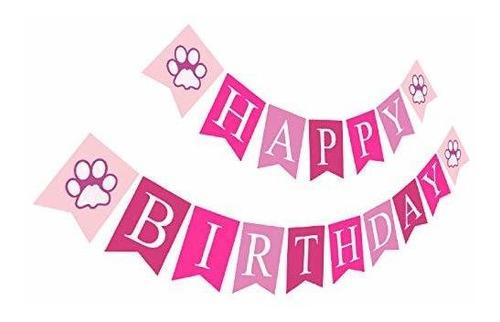 Imagen 1 de 7 de Perrito Feliz Cumpleaños Banner | Signo De Cumpleaños Niña |