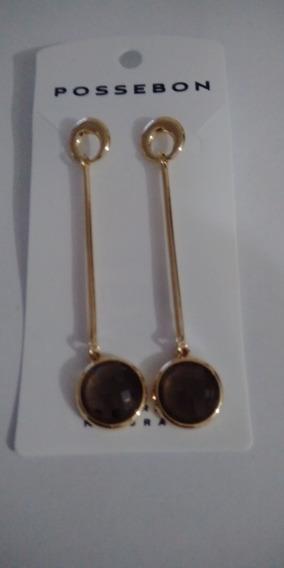 Maxi Brinco Pedra Natural Obsidiana Fumê Folheada Ouro