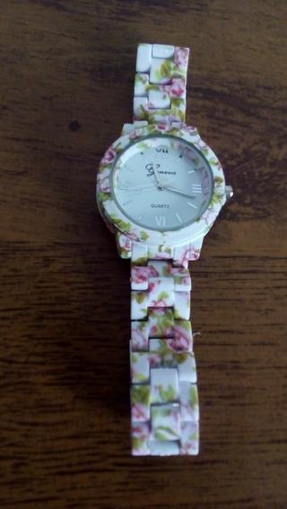 Lindo Relógio Pulseira Branca Com Flores Rosa