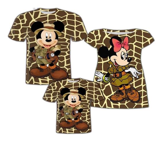 Vestido Mãe E Blusa Pai - Mickey E Minnie Safari 2