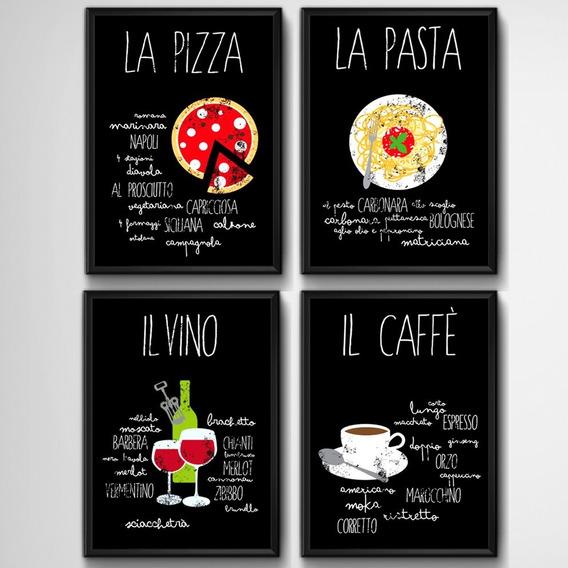 4 Quadros Cozinha Gourmet Chef Vinho Cafe Pizza Decoracao