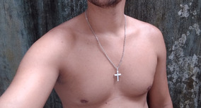 Corrente Masculino Prata 925 Cordão 60cm Ping Cruz