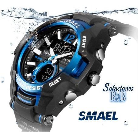 Reloj Deportivo Smael Azul Negro Camu Hombres 5 Atm Original
