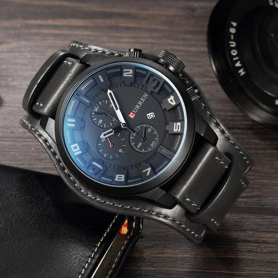 Relógio Exclusivo Curren Black Pulseira Especial Couro