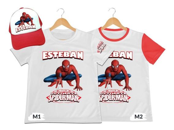 Camiseta Mas Gorra Spider Man Spiderman Hombre Araña