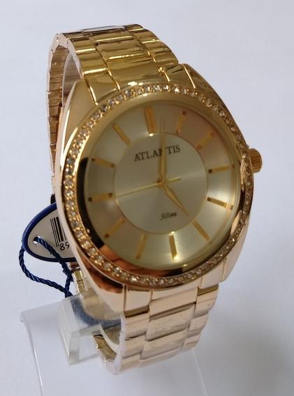 Relógio Dourado Feminino Atlantis G3443 Original