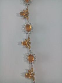 Bracelete Citrino Prata Esterlina E Micro Diamentes
