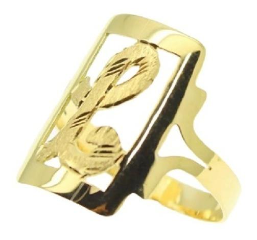 Anel Letra 3 Grs Chapa Quadrada (qq Letra) Ouro 18k - 2