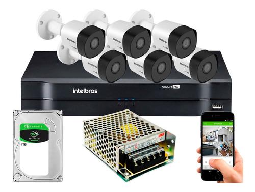 Kit Cftv Intelbras 6 Câmeras Full Hd 3230b 2mp 8 Ch Sem Cabo