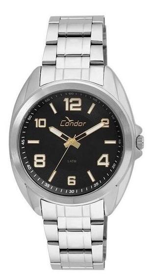 Relógio Condor Prata Fundo Preto, Co2035kui/ks3p