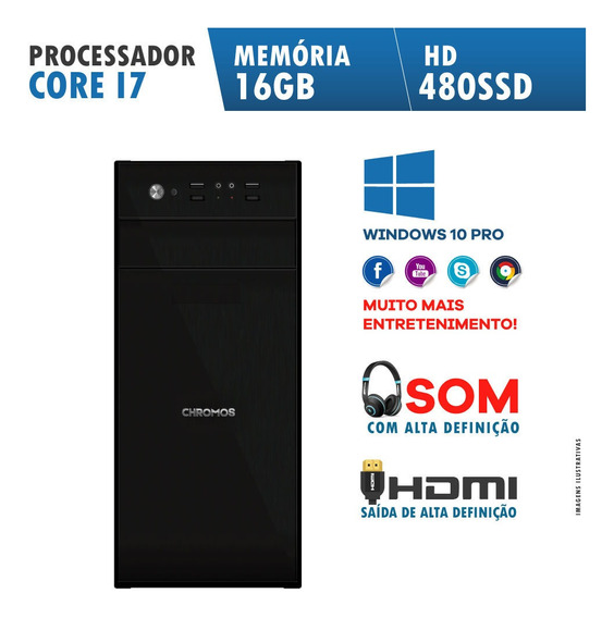 Computador Desktop Core I7 16gb Ssd 480gb Win10 Pro Chromos