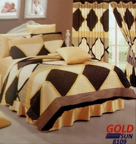 Imagen 1 de 1 de Cubre Camas 2 Plazas+sabana+cortina 7 Piezas  Goldsun