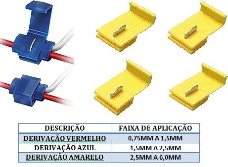120 Pçs Conector Derivação (40 Amarelo+80azul)