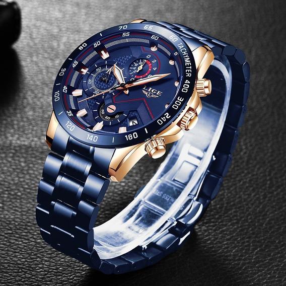 Relógio Pulso Luxo Adulto Masculino Azul Lige