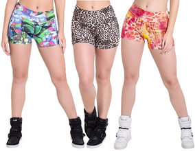 Kit Com 3 Shorts Fitness Kaisan Com Estampas Variadas-f2160