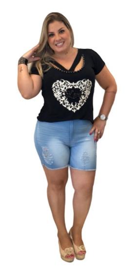 Bermuda Shorts Jeans Plus Size Rasgada Cintura Alta
