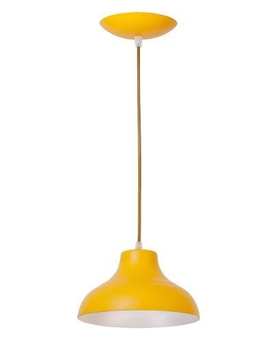 Lustre Pendente Estância Alumínio Pintado 1 Lâmpada Amarelo