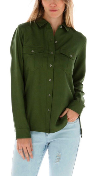 Blusa Ml Mujer Sloan L/s Woven Top Verde Cat