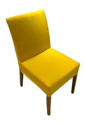 Kit 6 Unidades Capa De Cadeira Amarela - Malha Resistente