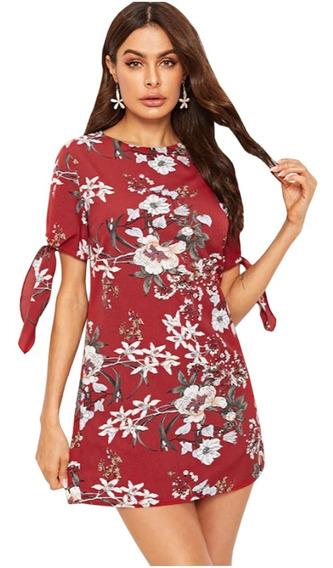 Vestidos De Fiesta Mangas Abiertas Rojo Estampado
