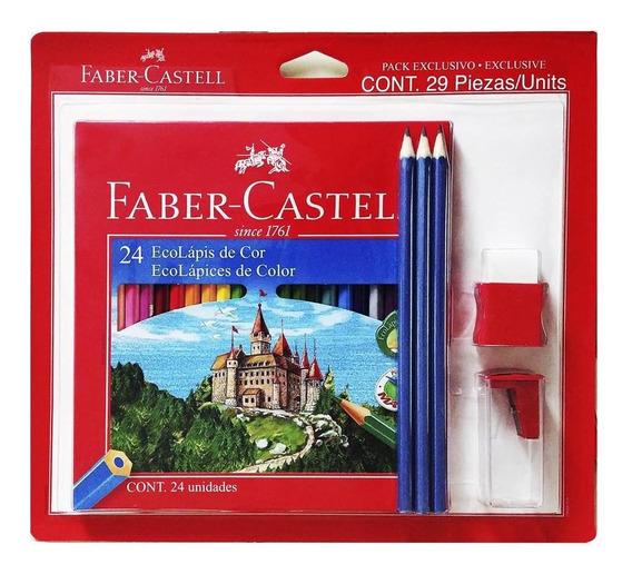 Kit Escolar Faber-castell Colores 24+ 3 Lapices + Tajalápiz