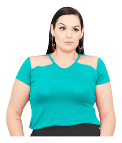 Roupa Feminina Blusa Gola V Transparência No Ombro Plus Size