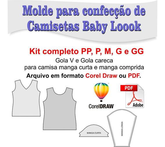 Molde De Camiseta Baby Look, Gola V E Gola Careca Corel, Pdf