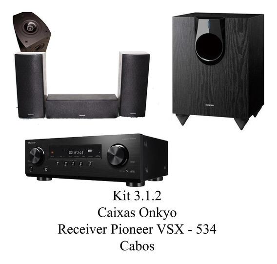 Kit Home Theater 3.1.2 Caixas Onkyo Com Cabos + Receiver 534