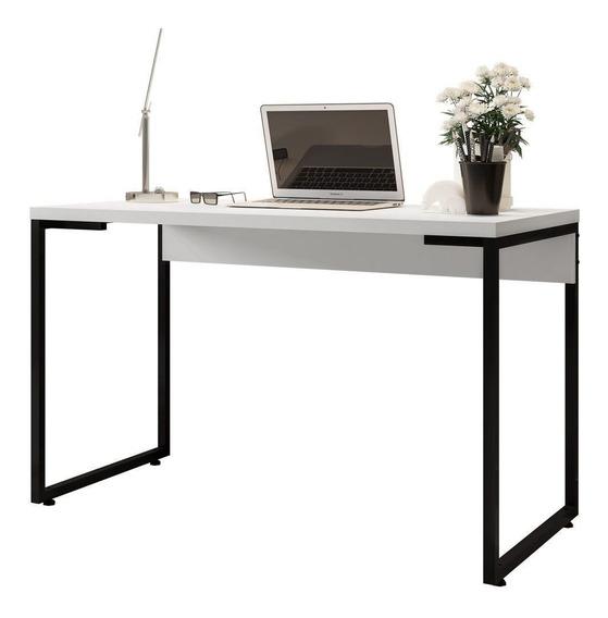 Mesa Para Escritório E Home Office Industrial Soft Branco Fosco - Lyam Decor