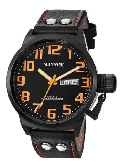 Relógio Magnum Ma32952j 2anos De Garantia Pulseira De Couro