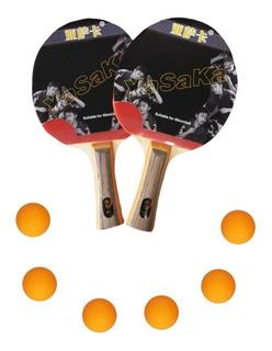 Set X 2 Raquetas De Ping-pong + Estuche + 6 Bolas