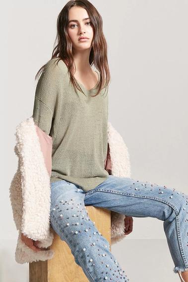 Forever 21 Sweater Cardigan Tejido Verde Caladito L Grande