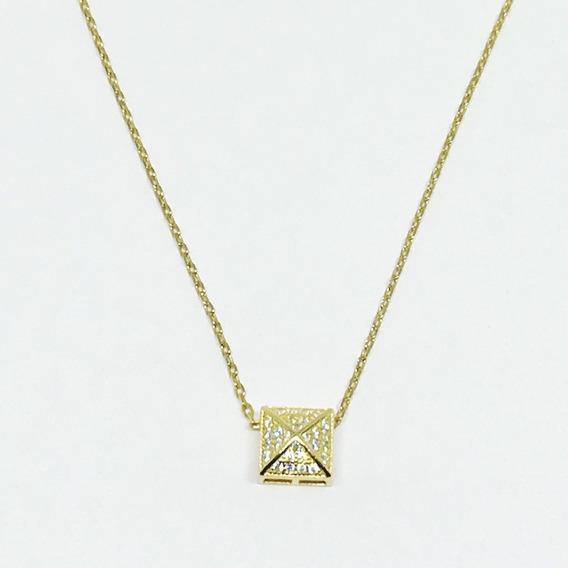 Colar Prata 925 Dourado Quadrado