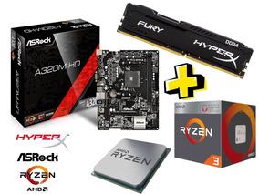 Kit Gamer Ryzen 3 + Placa Asrock A320 + Hyperx 8gb 2x4gbddr4