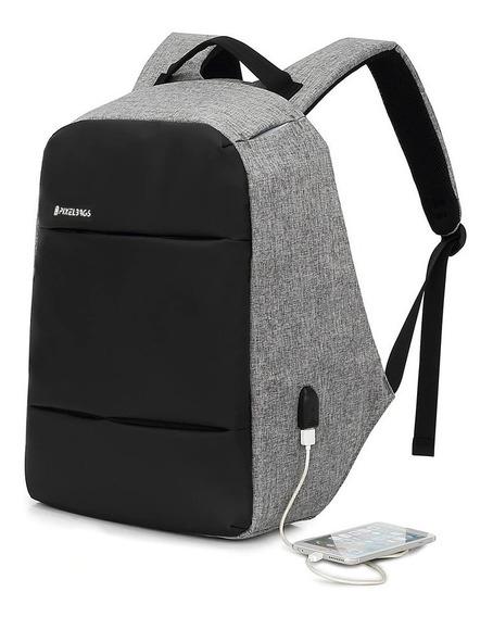Mochila Antirrobo Impermeable Usb Porta Notebook Pixel Bags