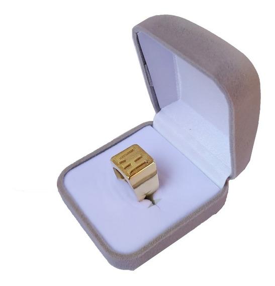 Anel 2 Letras Com 7 Gramas Em Ouro 18kl/750