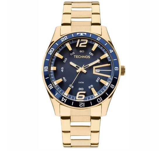 Relógio Technos 2115laj/4a Dourado/azul, Masculino, 5atm.