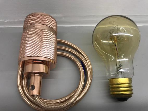 Kit 5 Unid Soquete Retro E27 Edison Cobre Pendente+lampada