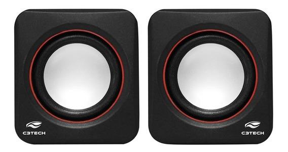 Caixa De Som Speaker 2.0 Preta/vermelha C3 Tech Plus Via Usb